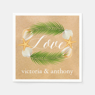 Tropical Wreath Sandy Beach Wedding Paper Napkin