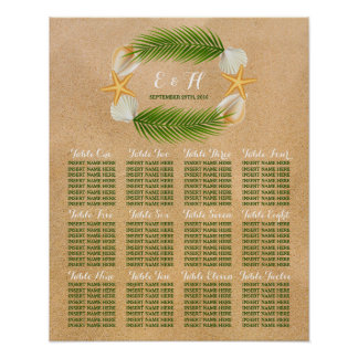 Tropical Wreath Sandy Beach Wedding Seating Chart