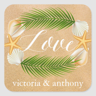 Tropical Wreath Sandy Beach Wedding Square Sticker