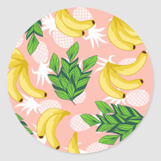 Tropical Yellow Bananas and Pineapples on Pink Classic Round Sticker