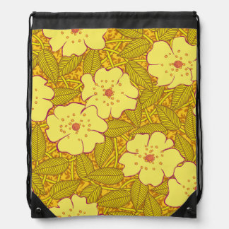 Tropical yellow Flowers Pattern Drawstring Backpack