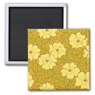 Tropical yellow Flowers Pattern Magnet