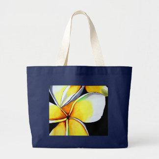 Tropical Yellow Frangipani flower original art Large Tote Bag