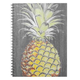 Tropical Yellow Pinneapple on Grey Notebooks