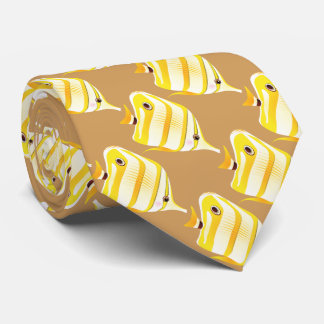 tropical yellow striped fish tie