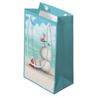 Tropical Yoga Snowman on the Beach Gift Bag