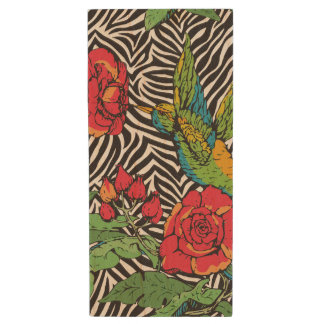 Tropical Zebra Hummingbird Wood USB Flash Drive
