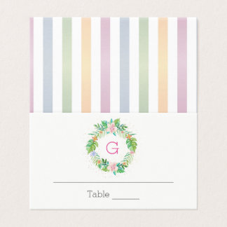 Tropicall Wreath with Monogram Place Card