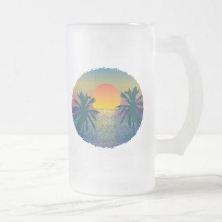 Tropicana Sunset Frosted Glass Mug