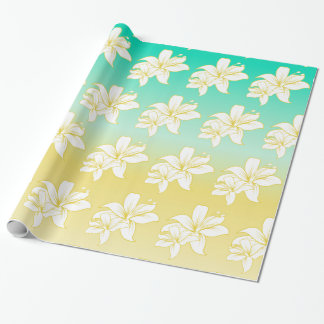 Tropics Sand and Sea Hibiscus Flower Wrapping Paper