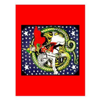 trotsky slaying the counter revolutionary dragon postcard