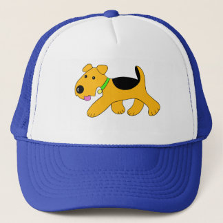 Trotting Airedale Puppy Dog Trucker Hat
