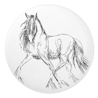 Trotting Horse Sketch Artwork Ceramic Knob