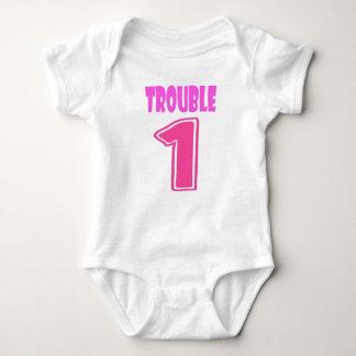 Trouble 1 twin romper baby bodysuit