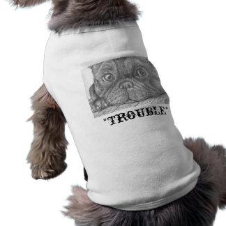 """""""Trouble"""" French Bulldog Puppy Doggy Coat Sleeveless Dog Shirt"""