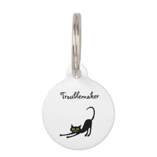 Troublemaker Smiling Cat Pet Tag