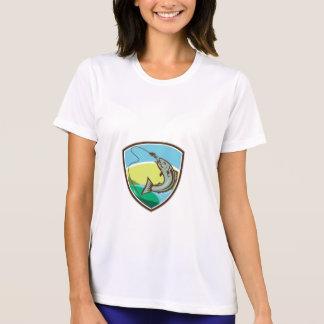 Trout Biting Hook Lure Shield Retro T-Shirt