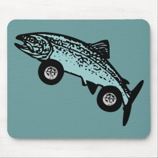 Trout Fish Race Car Mouse Pad