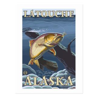 Trout Fishing Cross-Section - Latouche, Alaska Postcard