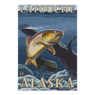 Trout Fishing Cross-Section - Latouche, Alaska Poster