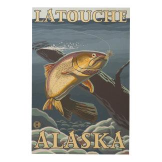 Trout Fishing Cross-Section - Latouche, Alaska Wood Prints