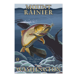 Trout Fishing Cross-Section - Mount Rainier, Poster