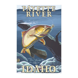 Trout Fishing Cross-Section - Payette River, Canvas Print