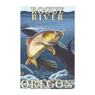 Trout Fishing Cross-Section - Rogue River, Canvas Print