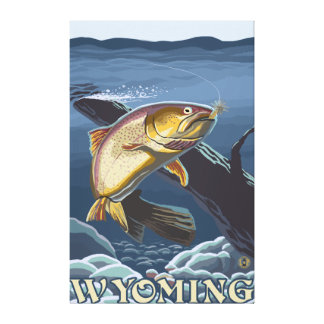 Trout Fishing Cross-Section - Wyoming Canvas Print