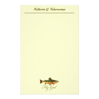 Trout Fishing Fly Gal Fisherwoman Woman Stationery