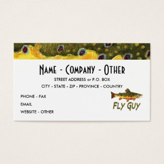 Trout Fly Fisherman Business Card