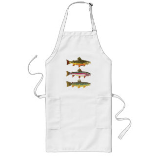 Trout Fly Fishing Fisherman Cook Chef Long Apron