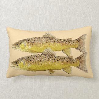 Trout Pillow- Brown & Brook Trout Lumbar Cushion