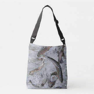 Trout Season Releasing Trout Into the Lake Crossbody Bag