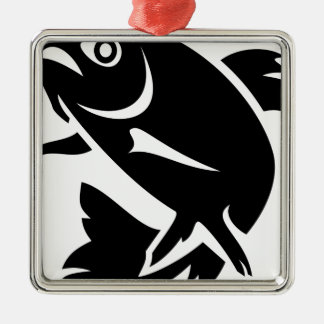 Trout Silhouette Metal Ornament