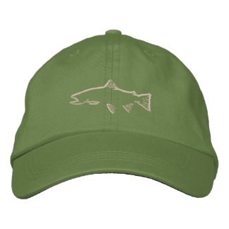 Trout Tracker Hat - Olive Embroidered Hats