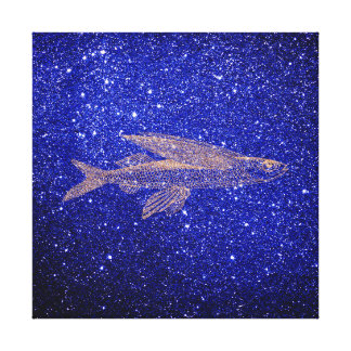 Troy Flying Fish Ocean Life Pink Rose Gold Copper Canvas Print