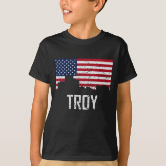 Troy Michigan Skyline American Flag Distressed T-Shirt