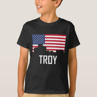 Troy Michigan Skyline American Flag T-Shirt