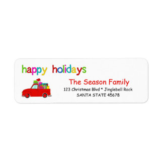 Truck and gifts Christmas label Happy Holidays