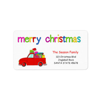 Truck and gifts Christmas label Merry Christmas