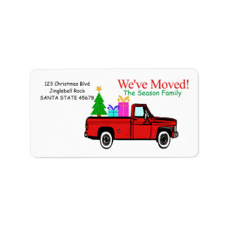 Truck and tree Christmas label Address Label