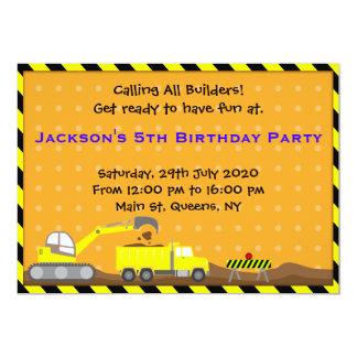 "Truck Construction Birthday Invitation 5"" X 7"" Invitation Card"