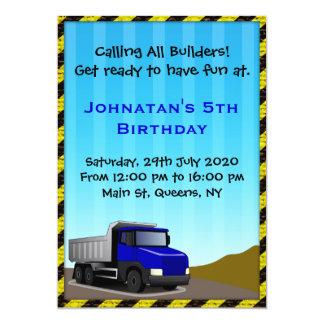 Truck Construction Birthday Invitation