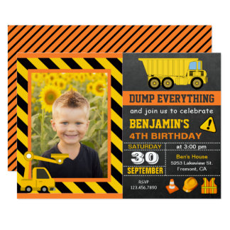 Truck Construction Birthday Party Photo Invitation
