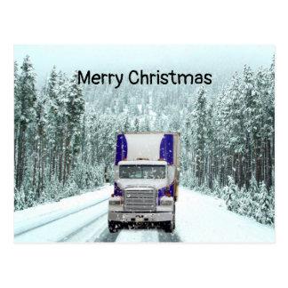 Truck Driver Christmas Postcard