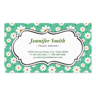 Truck Driver - Elegant Green Daisy Business Card Templates