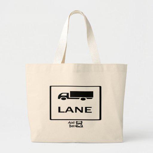 Truck lane road sign. tote bag