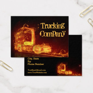 Truck on Fire! - Trucking Company Business Card