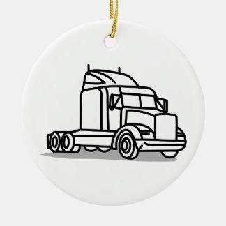 Truck Outline Ceramic Ornament